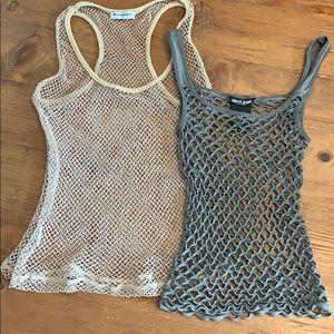 Two fishnet tanks